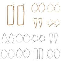 Fashion Simple for Women Heart Shaped Hoop Earrings Jewelry Girl Large Star