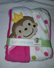 NWT Carter's Just One You Baby Girls 2 Towels Pink  Monkey Princess