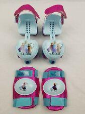 Disney Frozen 2 Kids Glitter Junior Skate Combo Rollerskates & Kneepads Age 3-5