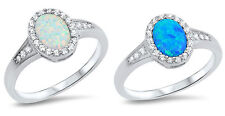 Sterling Silver 925 PRETTY OVAL DESIGN LAB OPAL ENGAGEMENT RINGS 11MM SIZES 5-10
