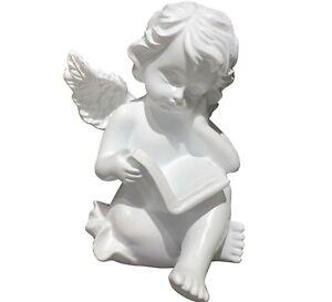 "6.25"" Reading Book Angel Statue Cherub Wings Figurine Shelf Sitter Collection"