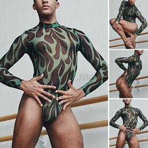 Men's Long Sleeve Tops Leotard Bodysuit See Through Mesh Jumpsuit Sexy Underwear