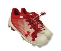 New Youth Under Armour Leadoff Mid Baseball Cleats Red/White Size 13K