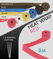 UNIVERSAL CAR BIKE EXHAUST HEAT WRAP with ties -5 METRE RED 5M-RED-SET