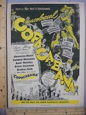 Rare Original VTG 1947 Copacabana Groucho Marx Carmen Miranda Movie Ad Art Print