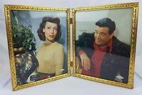 Vintage Double Hinged 8x10 Brass Picture Frame w. Jackie Gleason Photo Portrait