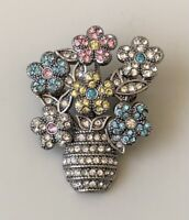 Vintage Flower vase Brooch pin silver tone metal.with Crystals