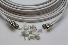 20m White Twin Satellite Shotgun Cable Sky Plus & Clips