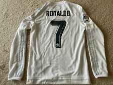 2015-16 Real Madrid Cristiano Ronaldo Jersey Men Sz Small White LS Los Blanco