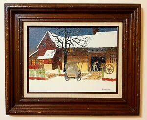 "H. Hargrove Oil Painting Wheelwright Winter Scene Framed Certified 20""x 24"""