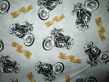 Motorcycle Biker Motorcycles Biker For Life Gray Cotton Fabric Fq