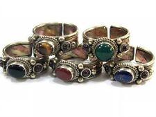 Solid Adjustable Tibetan 3-color Copper Tiger Eye Garnet 3 Gemstone Dotted Ring