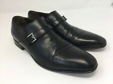 a.testoni Basic Men's Monk Strap Black Leather Dress Shoes Size 8 1/2 M