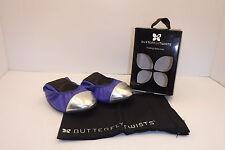 BUTTERFLY TWIST KATE BLUE/SILVER FOLDING BALLET FLATS SIZE 7 NIB