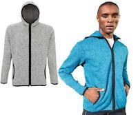 Mens Casual Jacket Sports Running Melange knit fleece Hoodie Zip