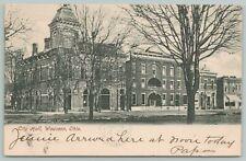 Wauseon Ohio~City Hall~c1910 B&W Postcard