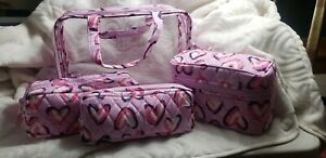 Vera Bradley Hearts Pink 4  Piece Cosmetic Organizer Makeup Bag NEW WITH TAGS !