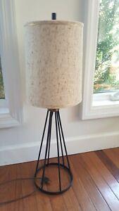 Mid Century Modern  Black Metal  Brass Lamp Water Von Nessen Style Circa 1940s