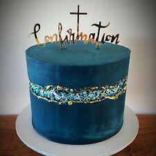 Confirmation Religious Acrylic Cake Topper - GOLD MIRROR