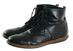 Tsubo Men's Wingtip Brogue Boots Size 11.5 Leather Black