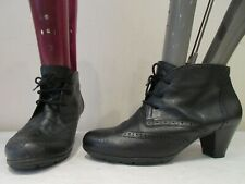 GABOR BLACK LEATHER LACE UP HEELED ANKLE BOOTS UK 6 (3358)