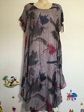 Calf Length Linen Tunic Floral Dresses for Women