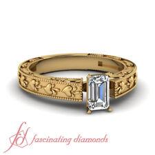 .75 Ctw. Emerald Cut Diamond Solitaire Vintage Inspired Milgrain Engagement Ring