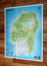 Grand Theft Auto V GTA 5 Los Santos Blaine County Map Poster Xbox one 360 PS 3 4