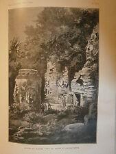 Gravure 1900 Indochine Tours du Bayom dans la forêt D'Angkor-Thom