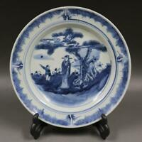 Old Chinese Blue and White Character Story Porcelain Plate