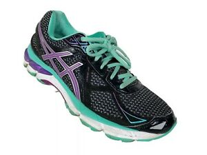 Asics GT 2000 Womens Running Shoes Size 10 Black Blue Green Athletic