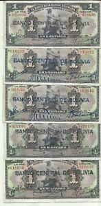 BOLIVIA LOT 5x 1 BOLIVIANO 1911  P 112.  VF CONDITION. 9RW 03MAR