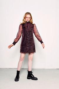 Glamorous Organza Neck Tie Leopard Mini Dress