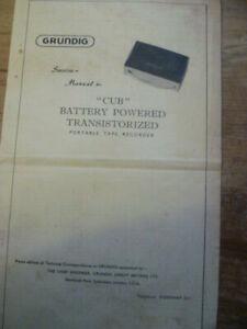 Grundig  CUB  Battery Tape Recorder  Original Service Manual
