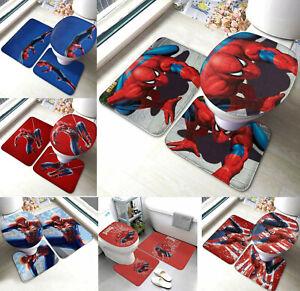 Spiderman Non-Slip Bath Mats 3PCS Toilet Lid Cover Contour Rug Bathroom Decor