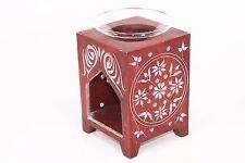 (15486) 14cm RED Natural Stone Tea light/Candle/Votive Holder/Oil Burner