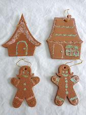 "GINGERBREAD ORNAMENT Lot of 4 Houses Girls Brown Foam Pink Glitter 4"" Christmas"