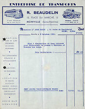 76 MONVILLE TRANSPORTS BEAUDELIN AUTOCARS VEHICULES UTILITAIRES FACTURE 1961