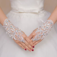 Elegant White Red Ivory  Wedding Gloves Lace Applique Short Rhinestone Bridal