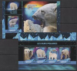 DJ076 SALE DJIBOUTI FAUNA WILD ANIMALS POLAR WHITE BEARS LES OURS KB+BL MNH