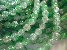 50 Green/Crystal 8mm Crackle Glass Beads #cr485 (Combine Post Before Paying)