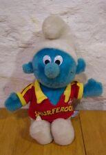 Vintage 1982 Smurfs SMURFEROOS SOCCER SMURF Plush Stuffed Animal Toy