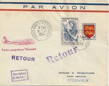 LETTRE PAR AVION PARIS POUR STOCKHOLM SUEDE 1954