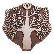 Tree Shape Fabric Printing Stamp Indian Hand Carved Blocks For Print (5X5)-Inch