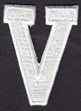 """LETTERS - WHITE BLOCK LETTER """"V"""" (1 7/8"""") - Iron On Embroidered Applique Patch"""