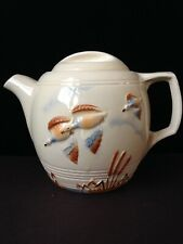 Vintage Porcelier China Teapot Flying Mallards Hand Decorated Made In Usa