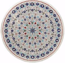 "48"" round Marble sofa Table Top Inlay Art Pietra dura Work Home room Furniture"