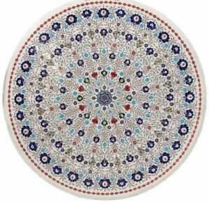 """48"""" round Marble sofa Table Top Inlay Art Pietra dura Work Home room Furniture"""