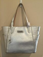 Brighton Paulina Side Pocket Tote In Metallic Silver Leather Garden H4224S NWT