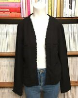 Ladies HUSH blazer jacket fringe open casual office boucle UK 10 US 6
